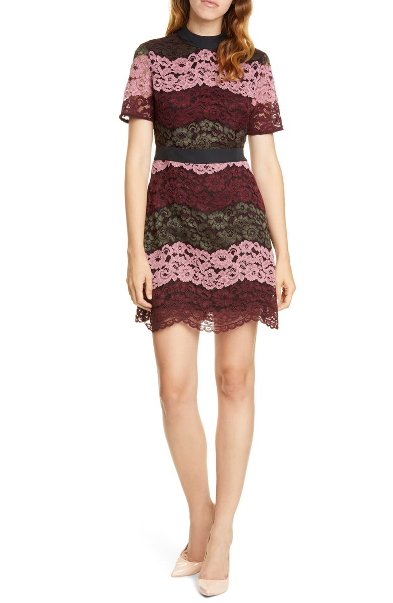 TED BAKER LONDON Jaseyy Paneled Lace Cocktail Dress, Main, color, OXBLOOD