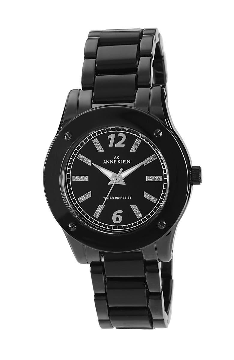 ANNE KLEIN AK Anne Klein Round Crystal Index Watch, Main, color, 001