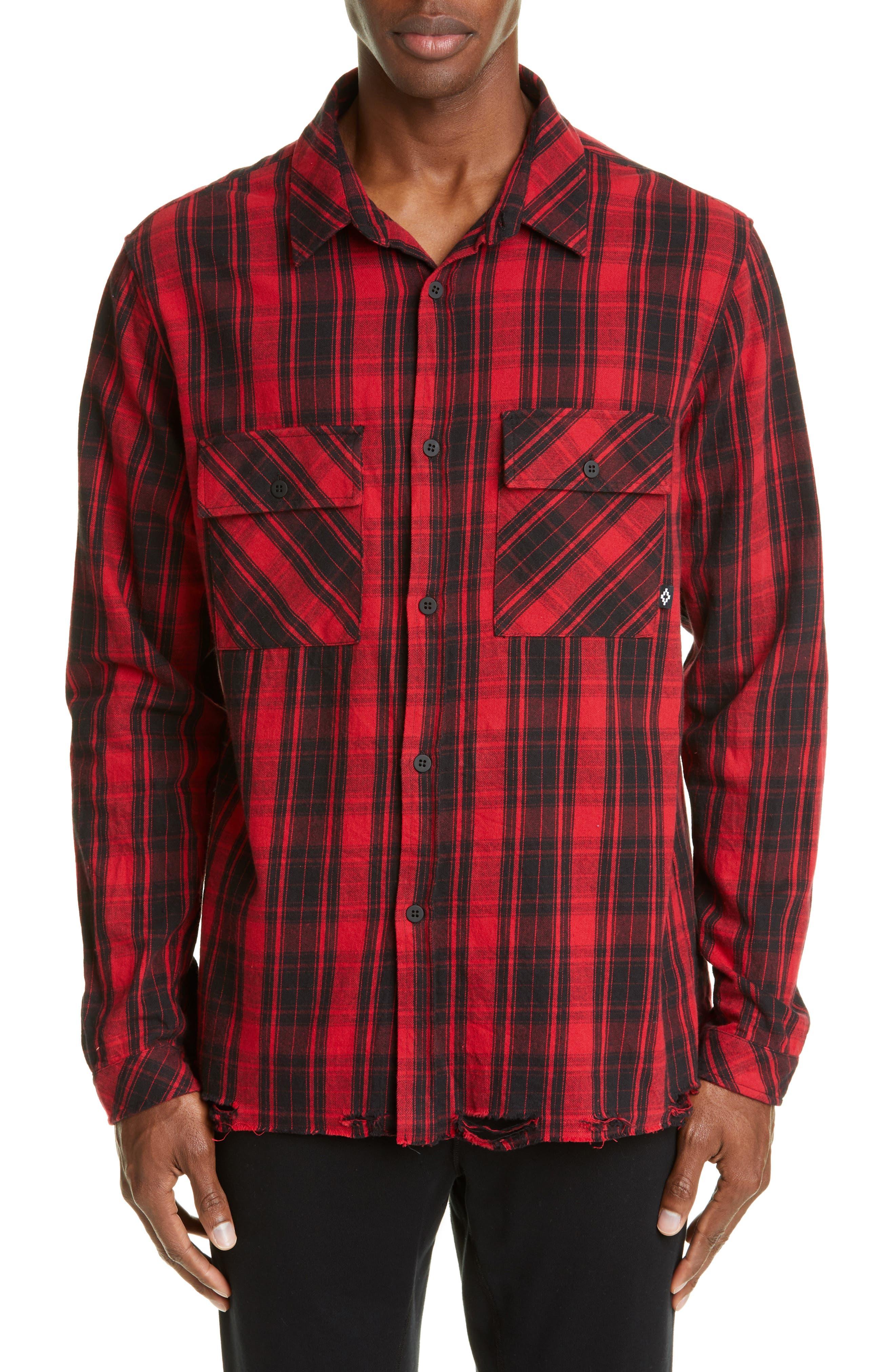 Marcelo Burlon County Check Plaid Button-Up Flannel Shirt, Red