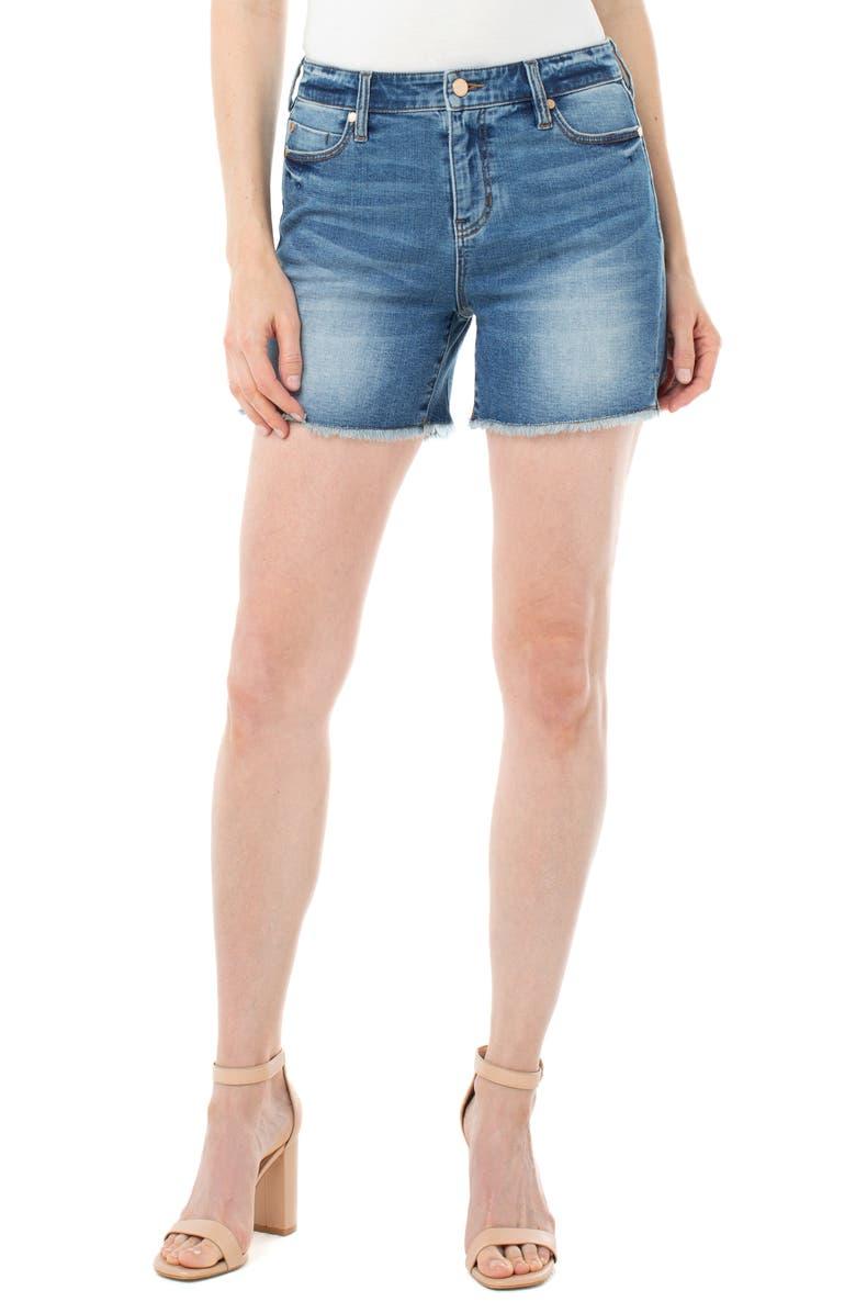 LIVERPOOL Vickie Frayed Denim Shorts, Main, color, ARIZONA