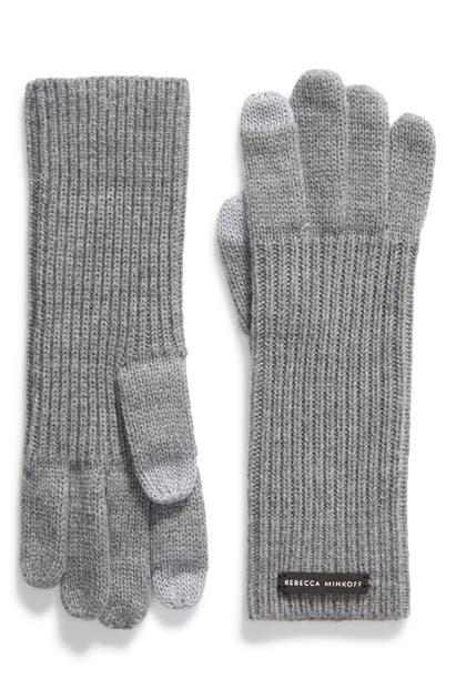Rebecca Minkoff Milano Knit Gloves In Heather Gray