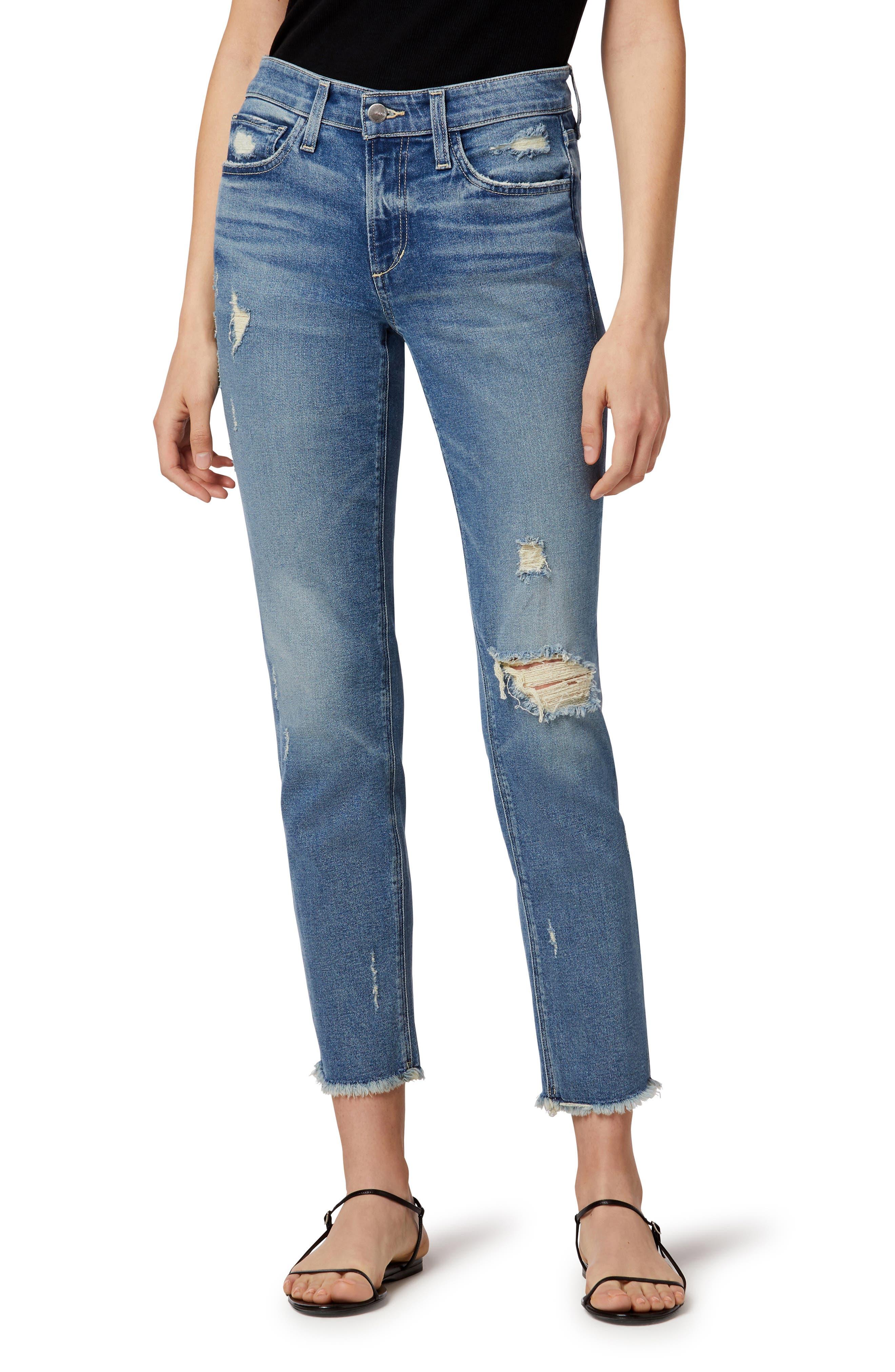 The Lara Distressed Ankle Straight Leg Jeans