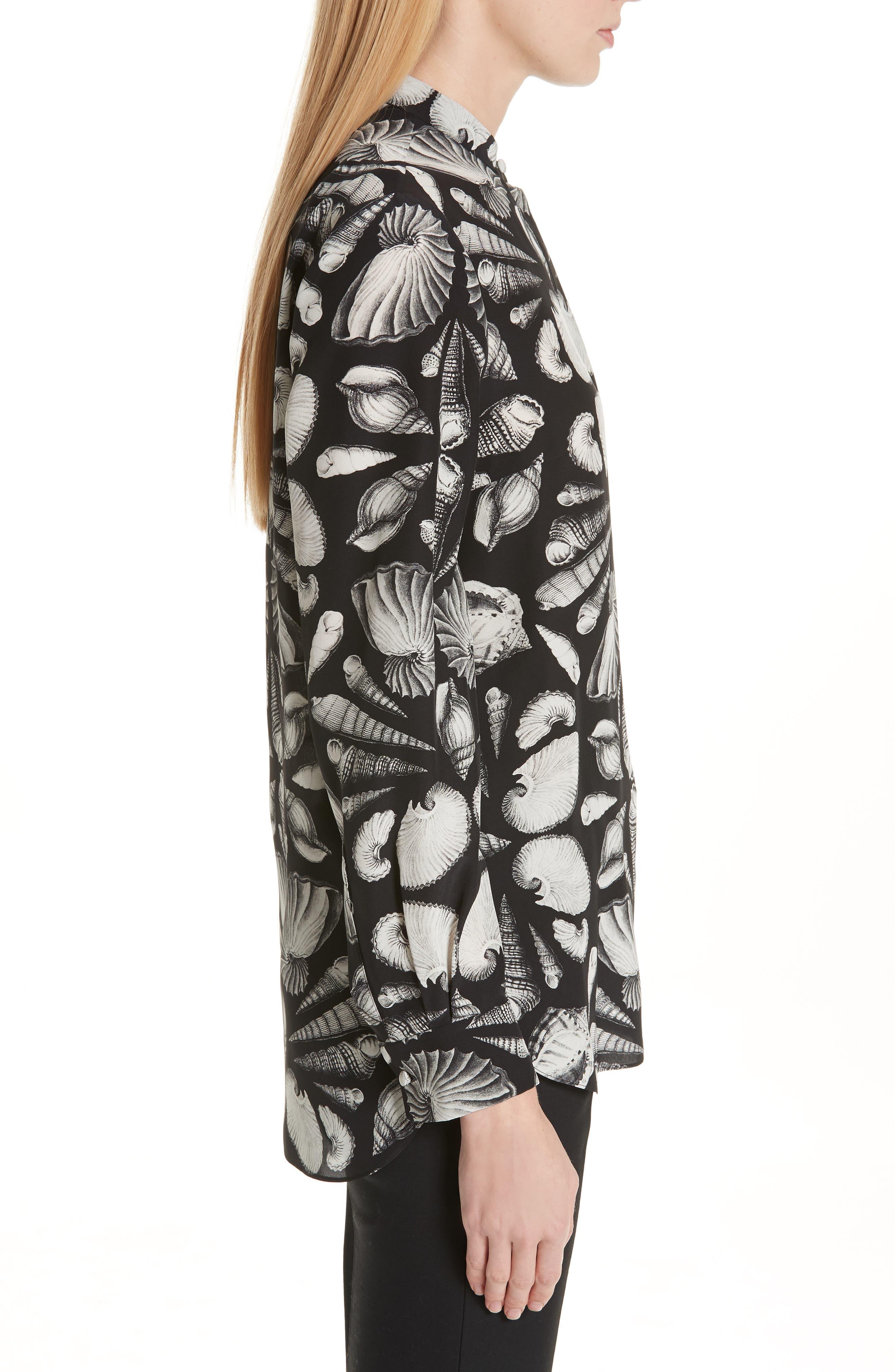 ,                             Cabinet of Shells Print Silk Blouse,                             Alternate thumbnail 4, color,                             1080 - BLACK IVORY