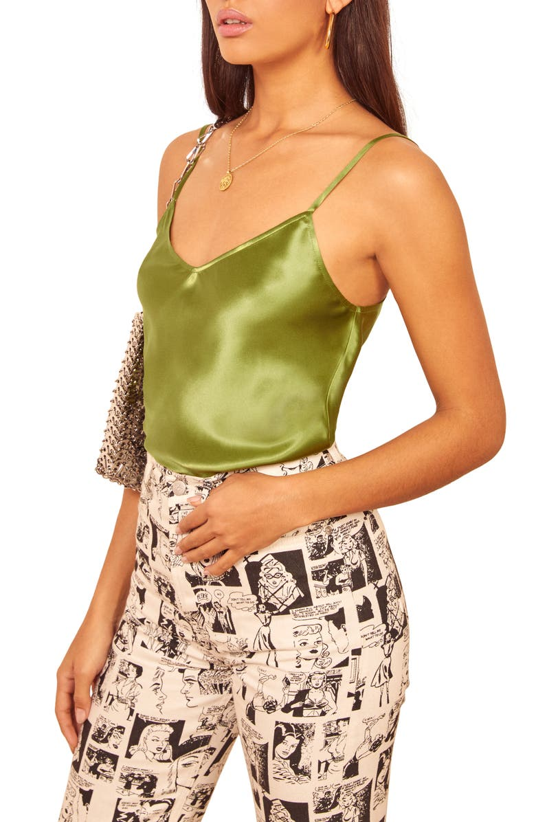 REFORMATION Teddy Silk Cami, Main, color, AVOCADO