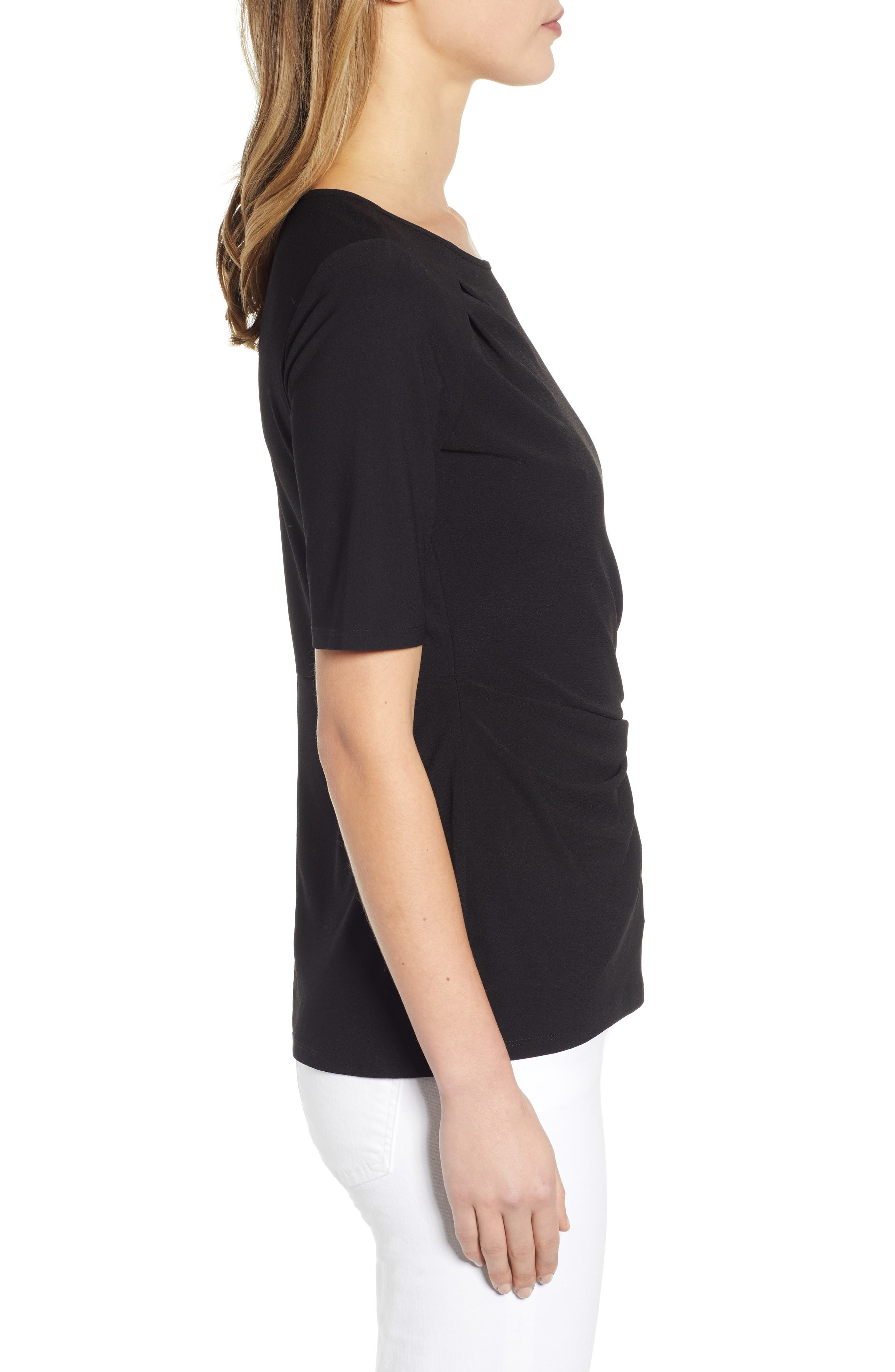 ,                             Side Knot Top,                             Alternate thumbnail 3, color,                             RICH BLACK