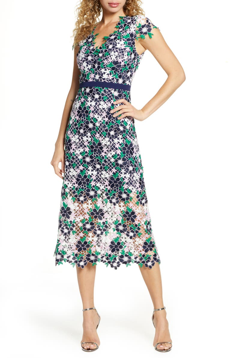 FOXIEDOX Embroidered Lace Midi Dress, Main, color, PINK GREEN MULTI