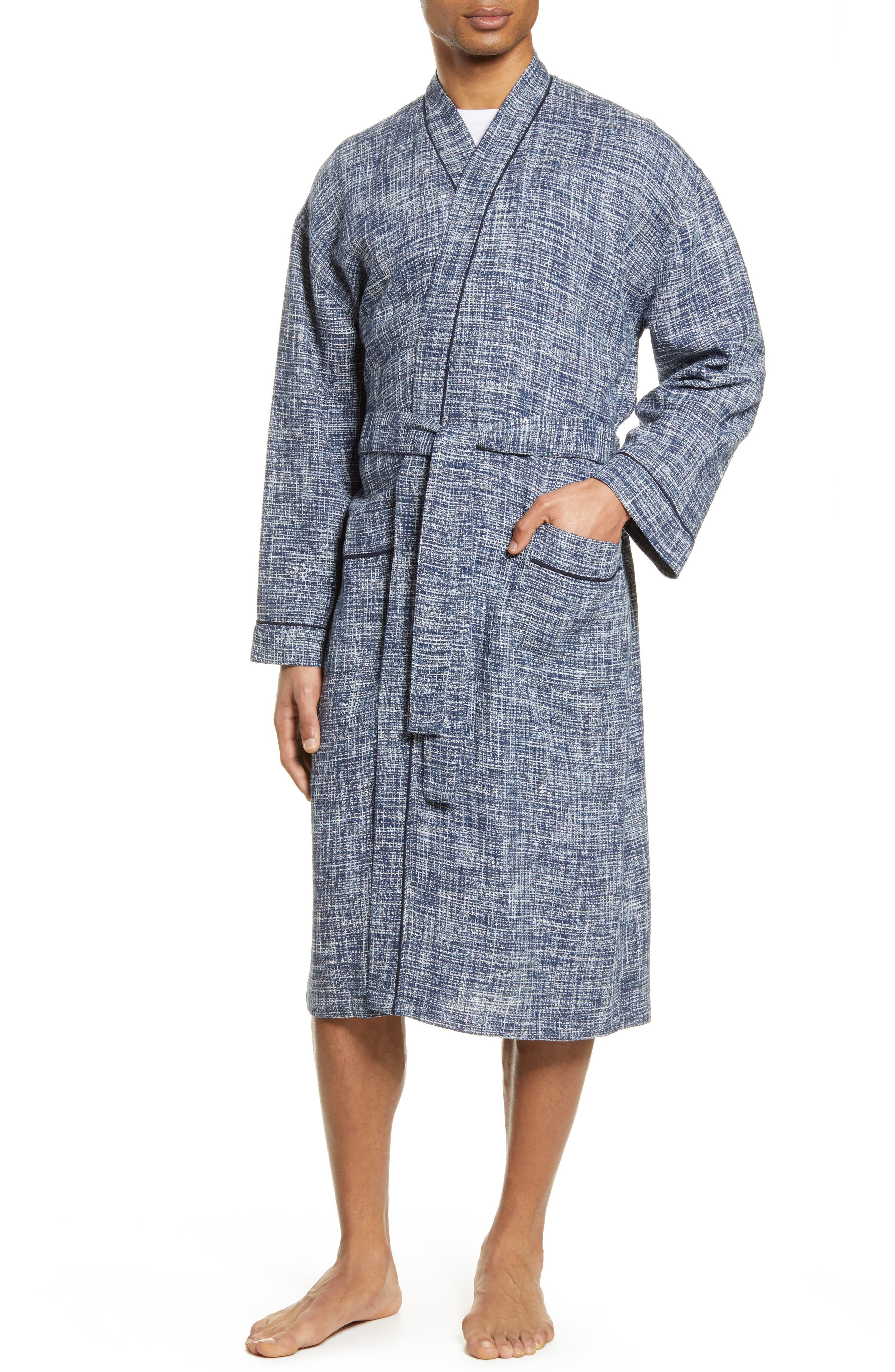 Ombre Heathered Waffle Knit Robe