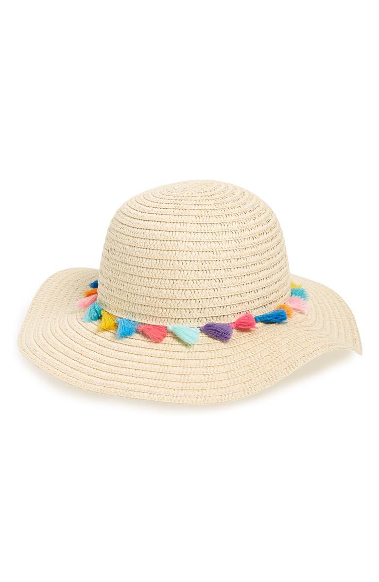 TUCKER + TATE Pompom Floppy Straw Hat, Main, color, 900