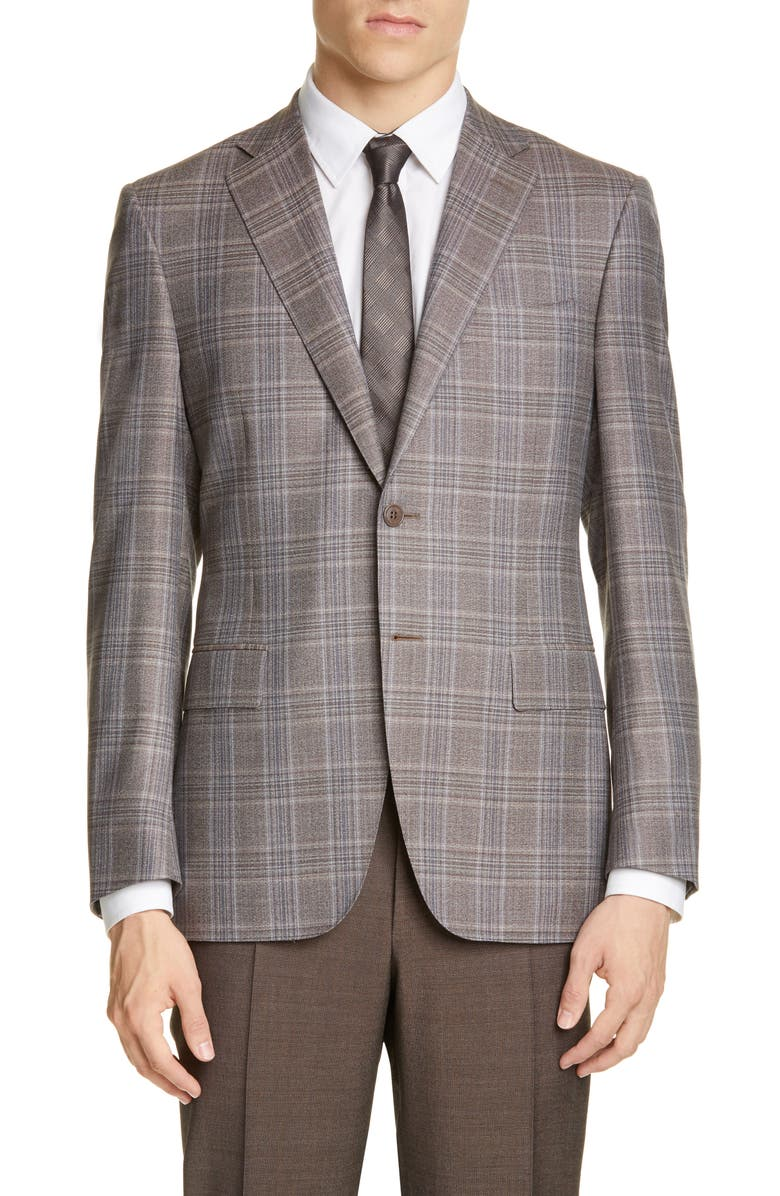 CANALI Sienna Soft Classic Fit Plaid Wool Sport Coat, Main, color, 200