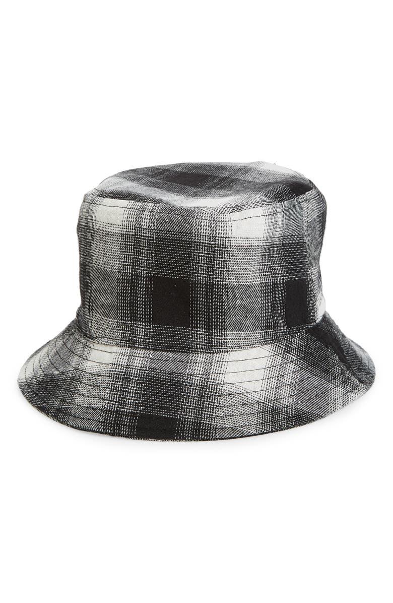 BP. Plaid Bucket Hat, Main, color, BLACK