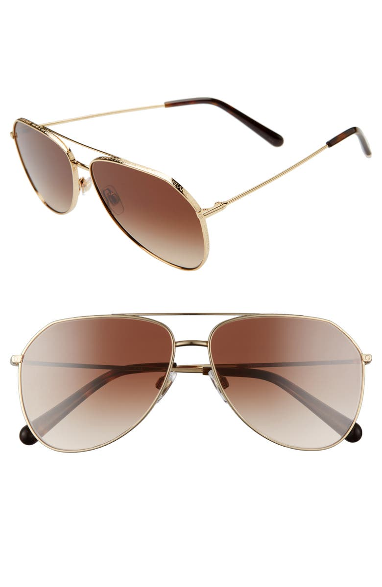 VALENTINO 57mm Polarized Aviator Sunglasses, Main, color, COPPER/ PINK PURPLE SOLID