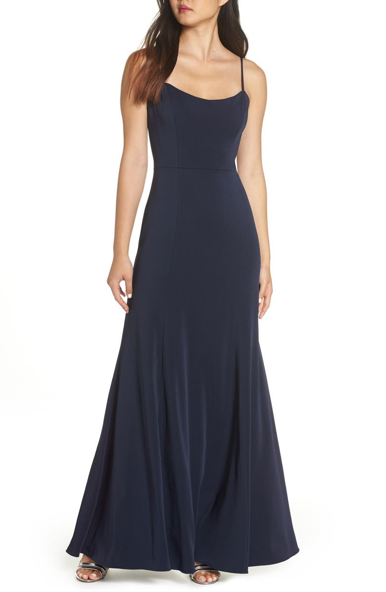 JENNY YOO Aniston Luxe Crepe Trumpet Gown, Main, color, MIDNIGHT