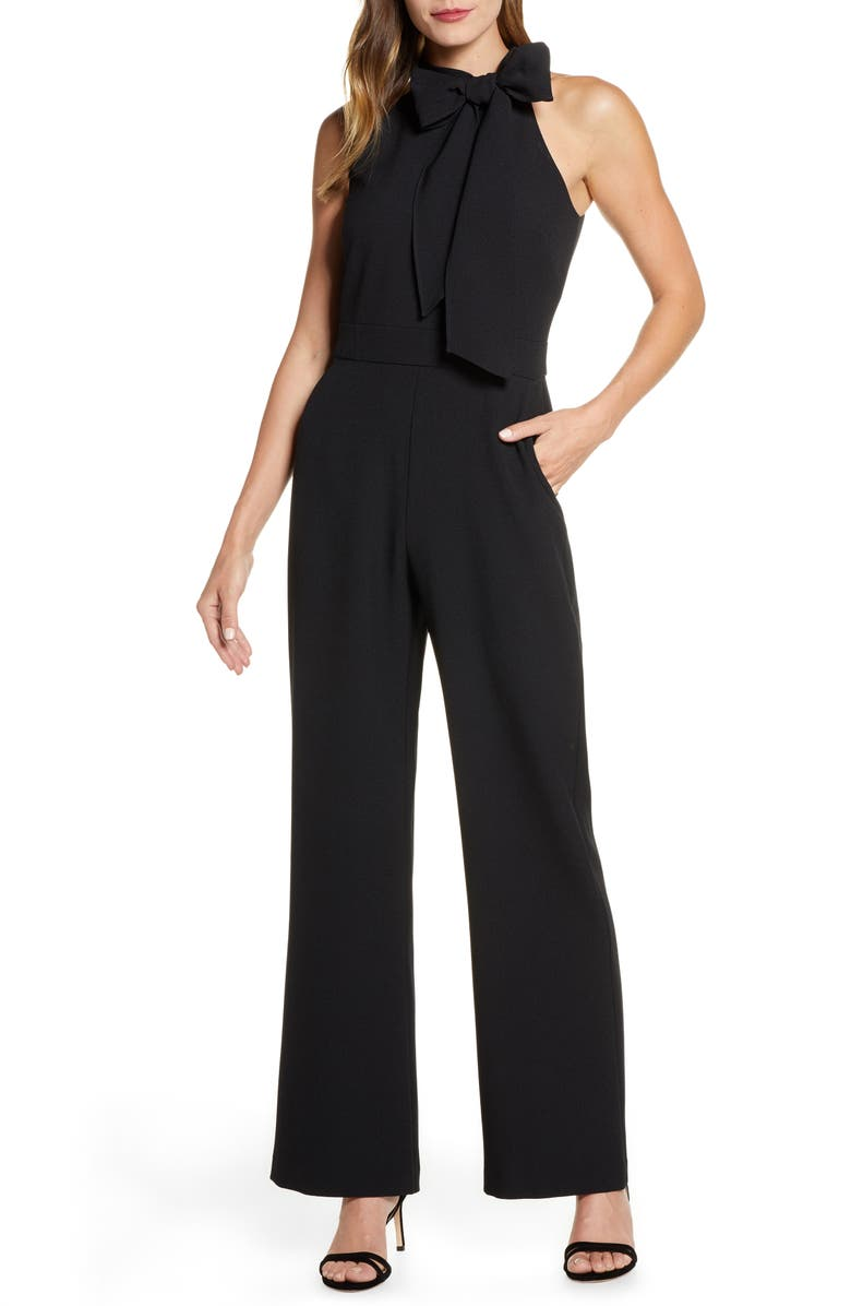 VINCE CAMUTO Kors Bow Neck Stretch Crepe Jumpsuit, Main, color, BLACK