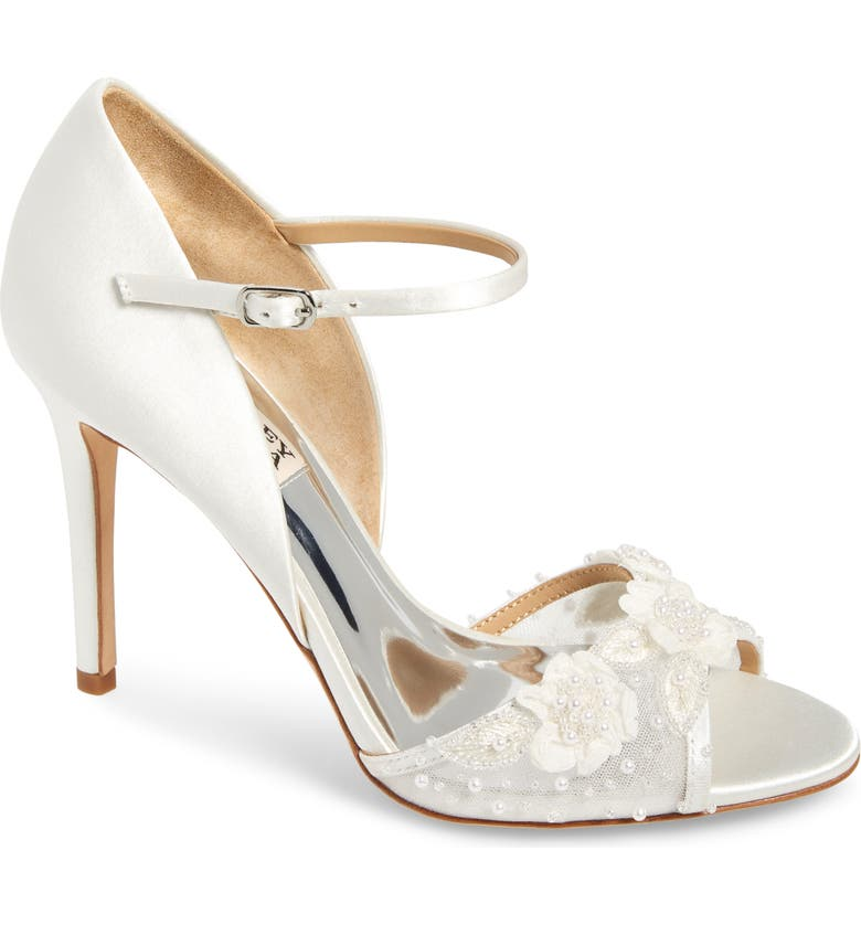 BADGLEY MISCHKA COLLECTION Badgley Mischka Carter Beaded Pump, Main, color, SOFT WHITE SATIN