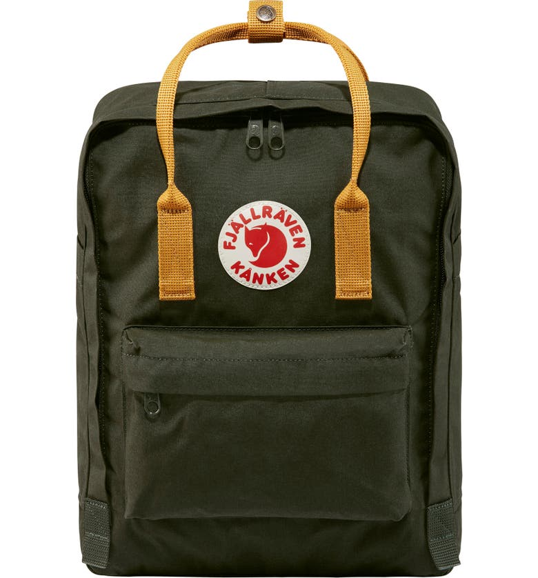 FJÄLLRÄVEN Kånken Water Resistant Backpack, Main, color, DEEP FOREST/ ACORN