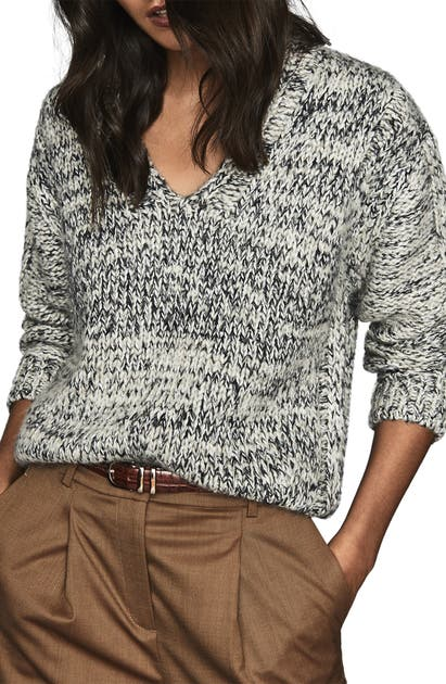 Reiss Sweaters FLO TEXTURED WEAVE V-NECK SWEATER