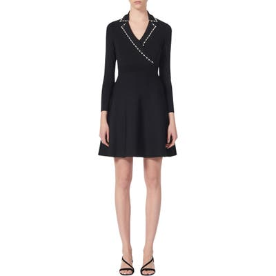Sandro Suity Bead Trim Long Sleeve Sweater Dress, Black