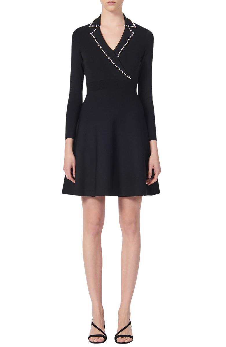 SANDRO Suity Bead Trim Long Sleeve Sweater Dress, Main, color, BLACK