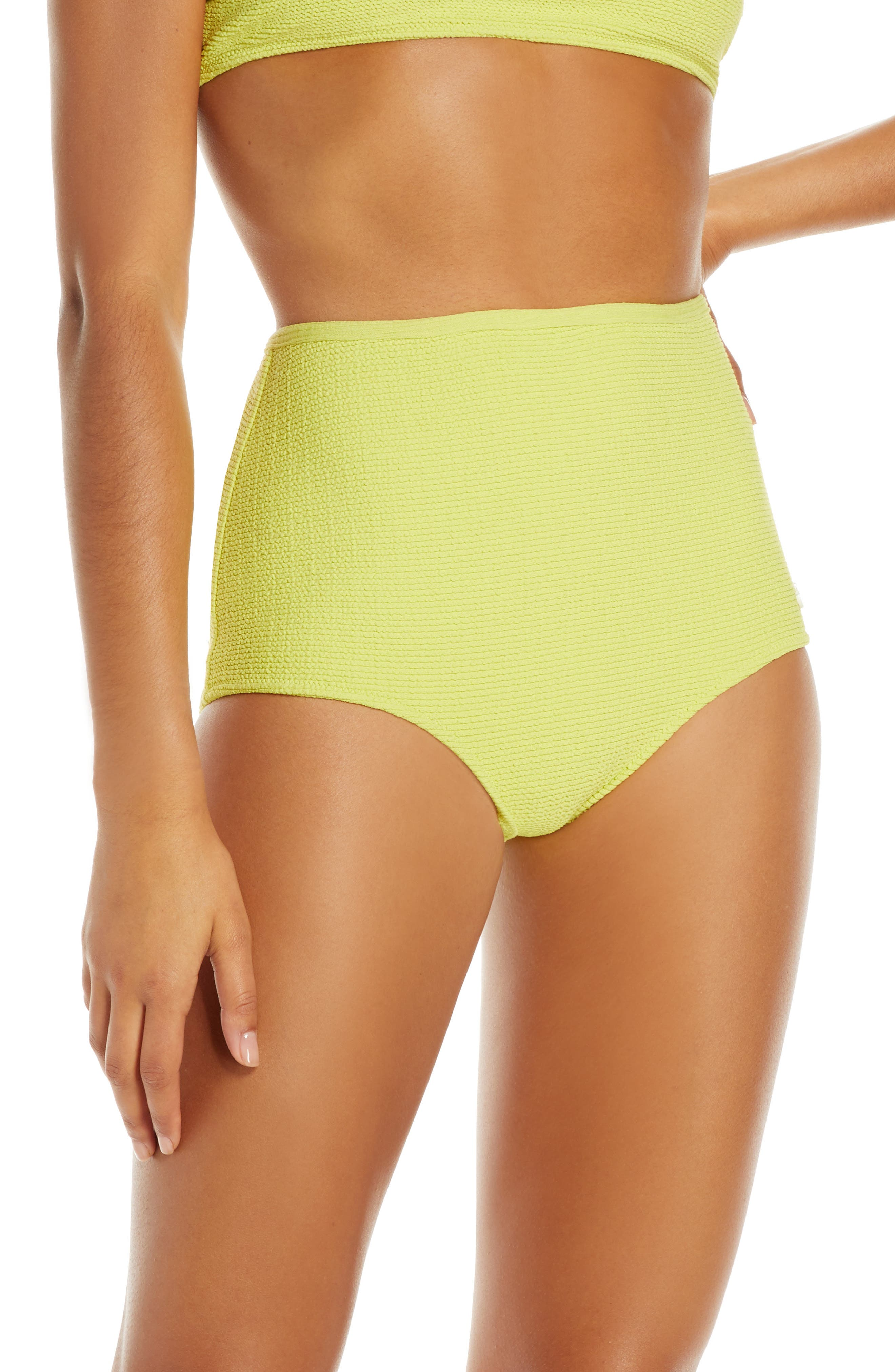 Solid & Striped The Violet High Waist Bikini Bottoms, Green