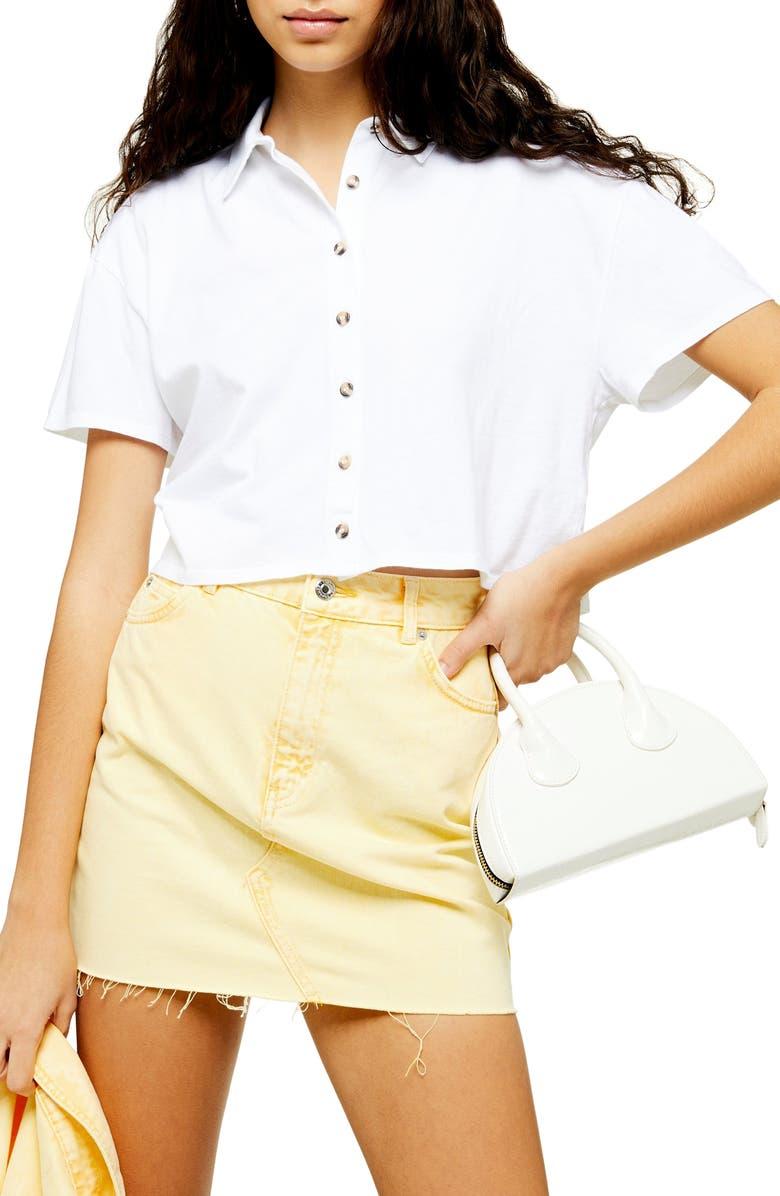 TOPSHOP Boxy Button Through Polo Shirt, Main, color, WHITE