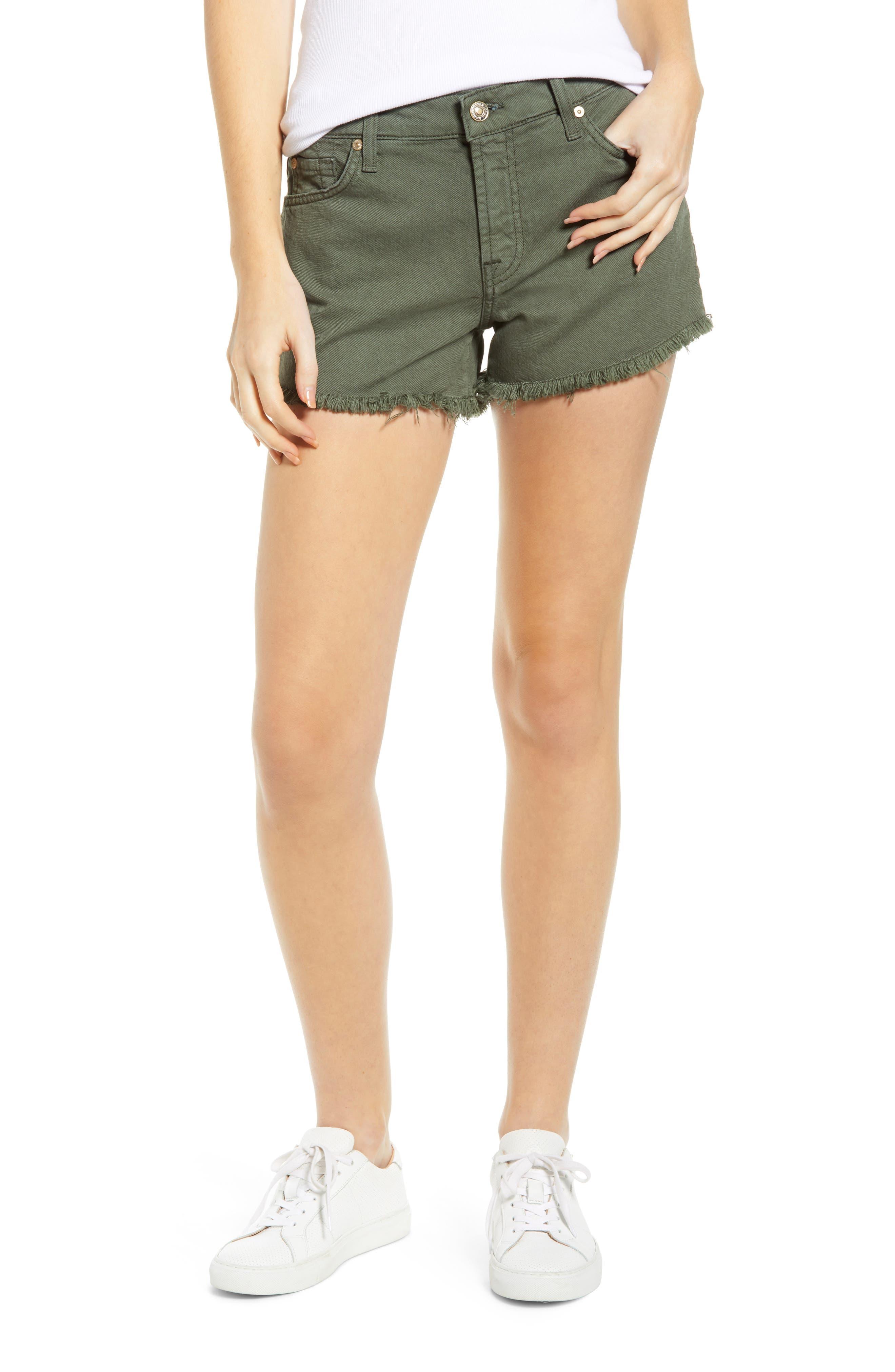 High Waist Cutoff Denim Shorts, Main, color, ARMY