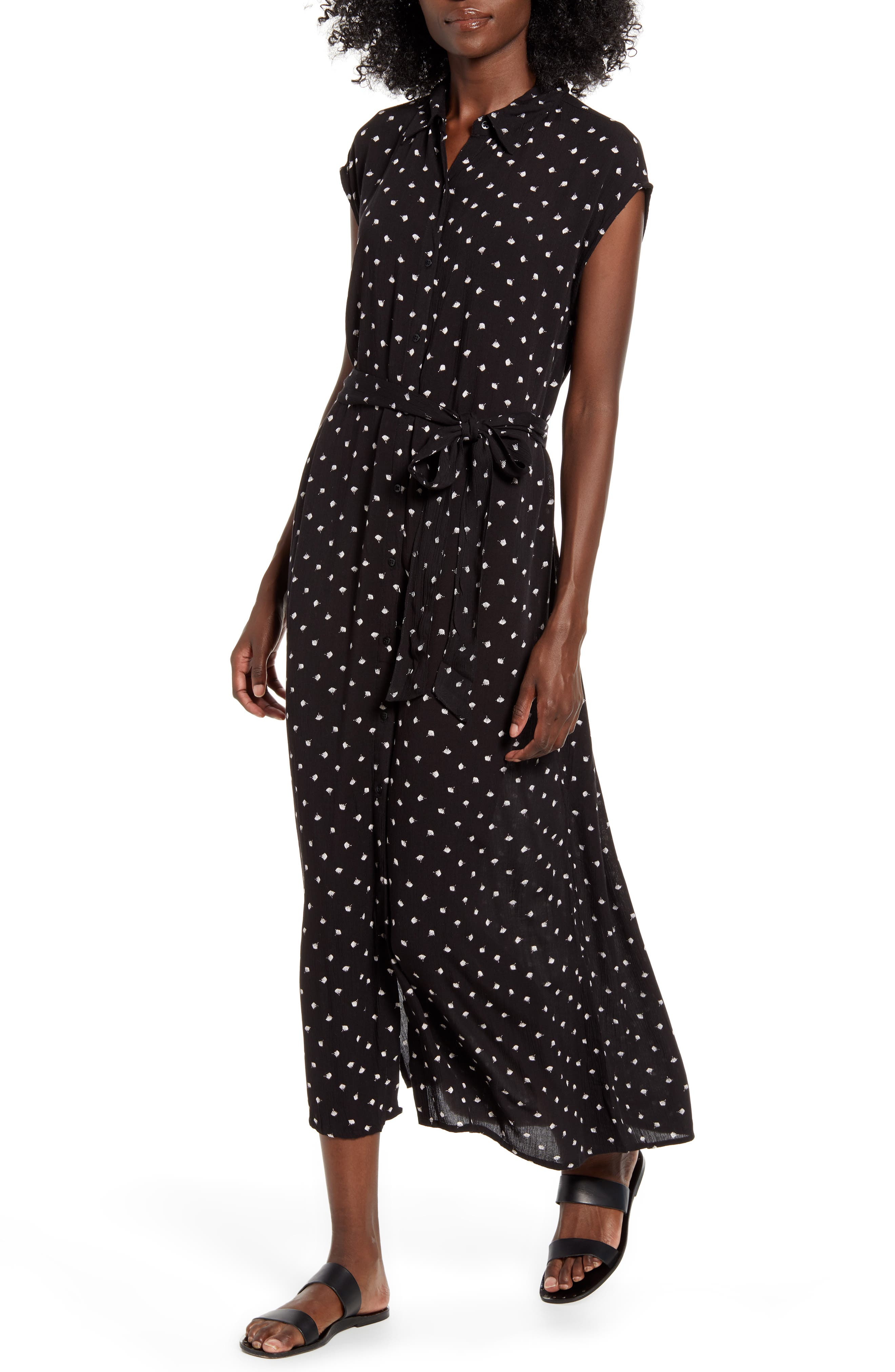 Billabong Little Flirt Print Midi Dress, Black
