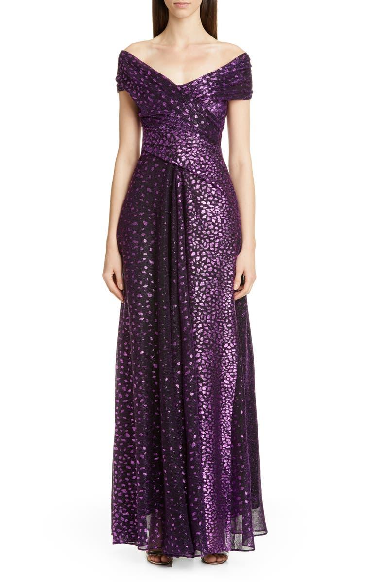 TALBOT RUNHOF Metallic Dégradé Voile Gown, Main, color, MULBERRY