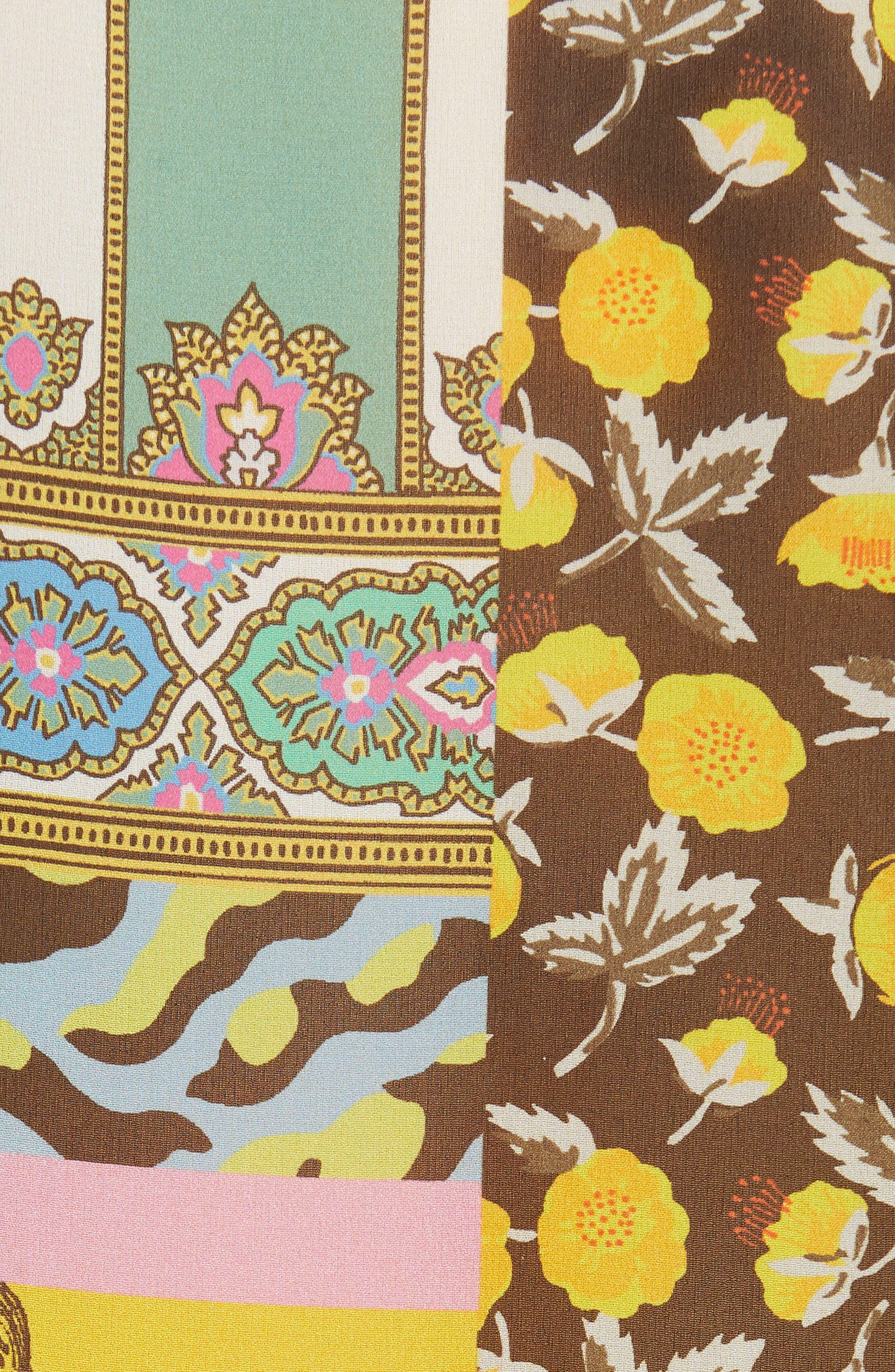 ,                             Patchwork Print Silk Tunic,                             Alternate thumbnail 5, color,                             YELLOW