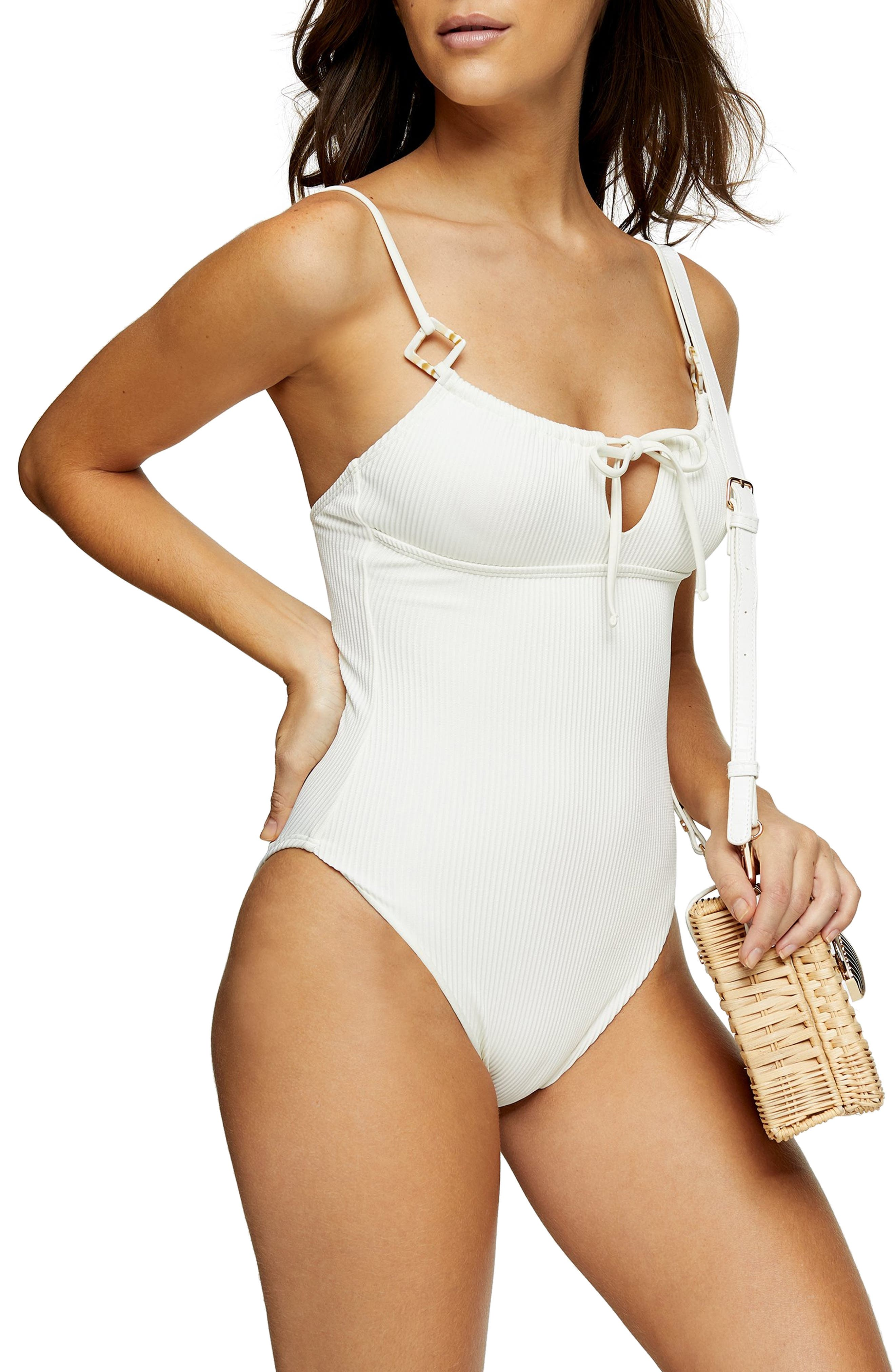 Topshop Women's Topshop Ribbed One Piece Swimsuit, Size 10 US Ivory from | Daily Mail