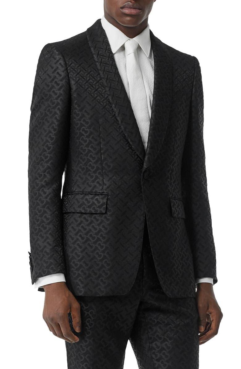 BURBERRY Monogram Jacquard Shawl Collar Wool & Silk Blend Suit Jacket, Main, color, 001
