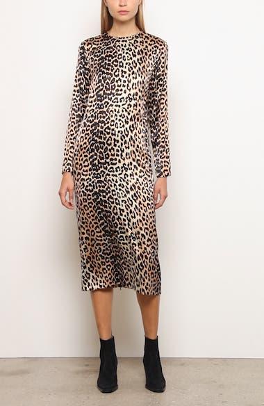 Leopard Print Stretch Silk Long Sleeve Midi Dress, video thumbnail