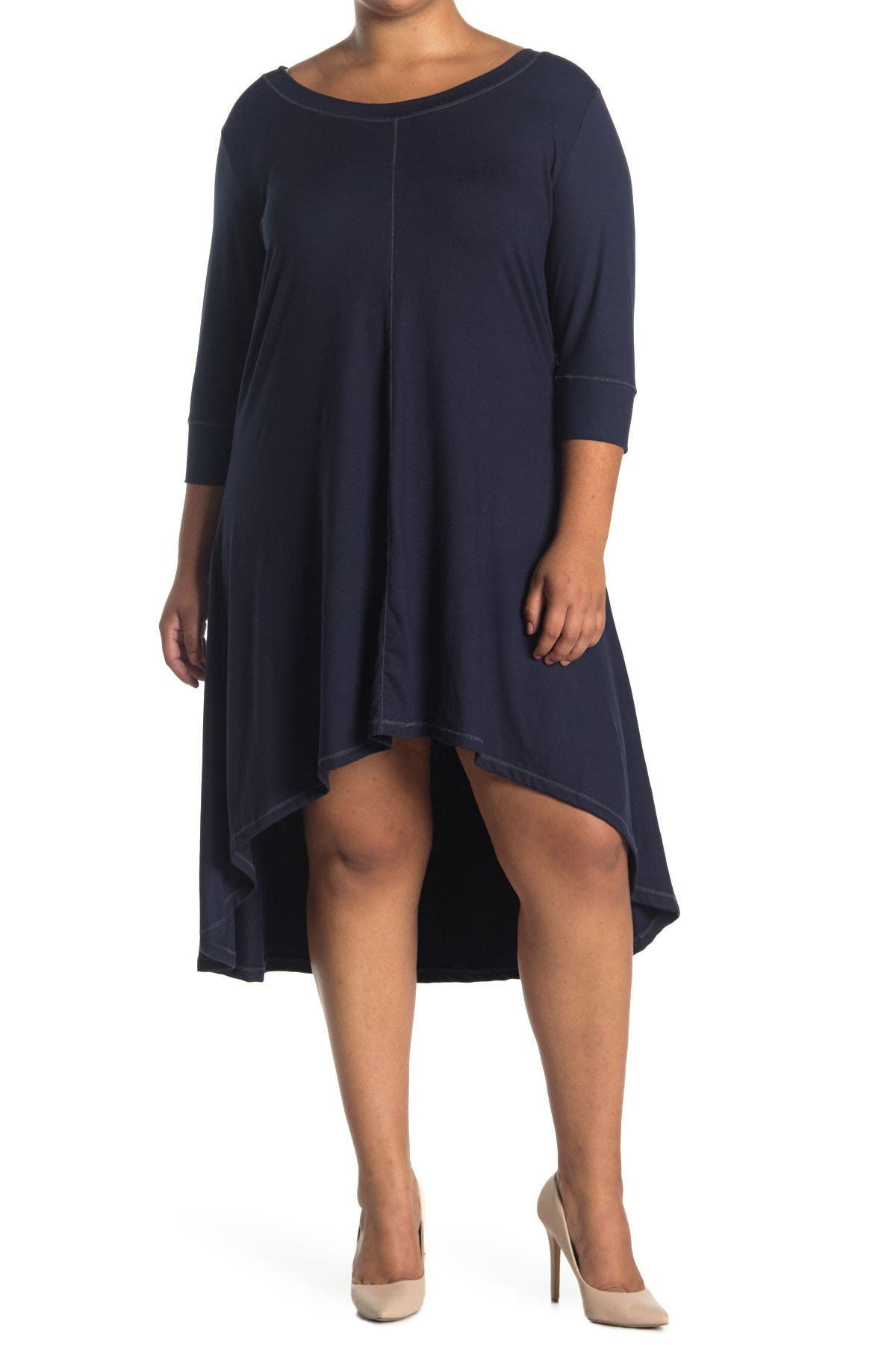 Image of Forgotten Grace 3/4 Sleeve Hi-Lo Knit Dress