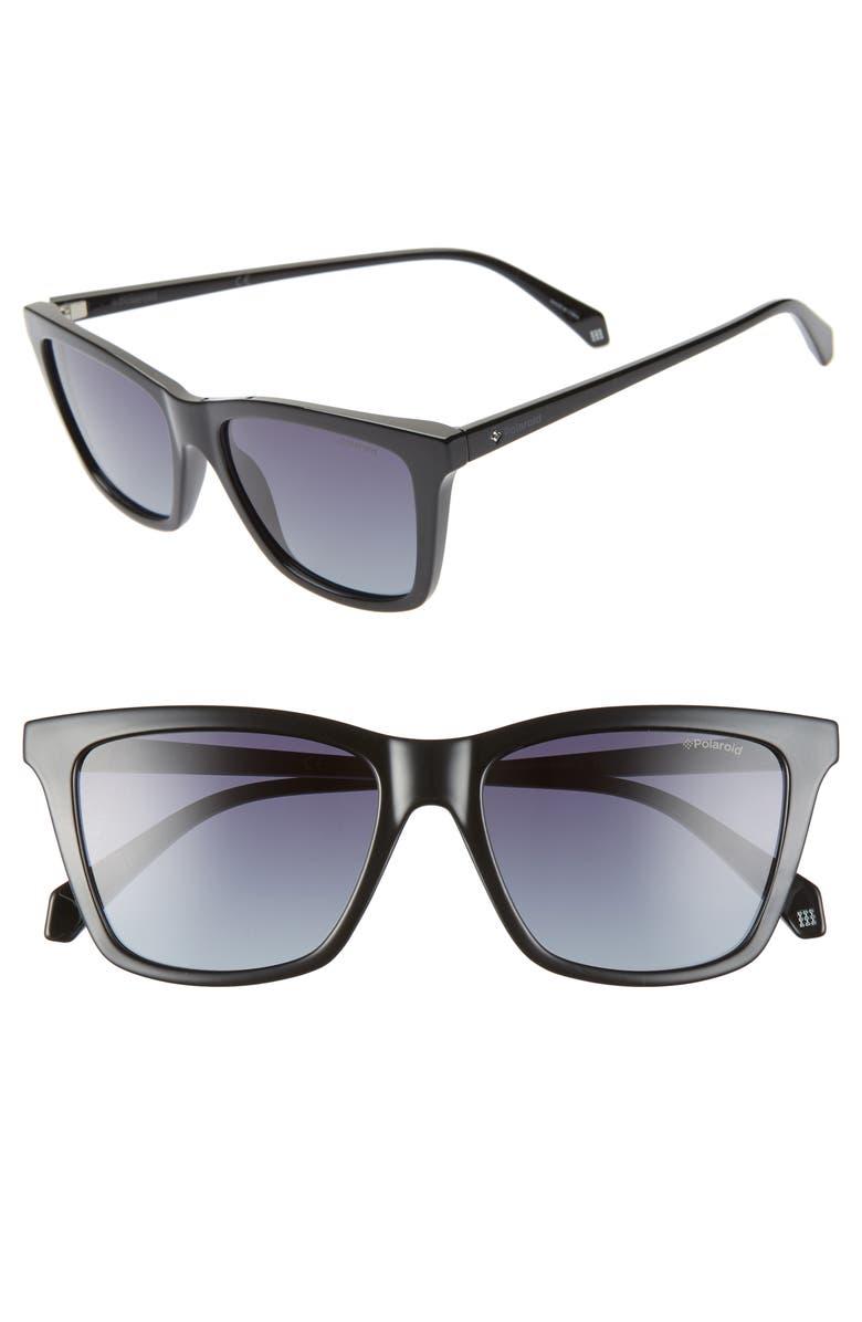 POLAROID 53mm Polarized Rectangular Sunglasses, Main, color, BLACK/ GREY POLARIZED