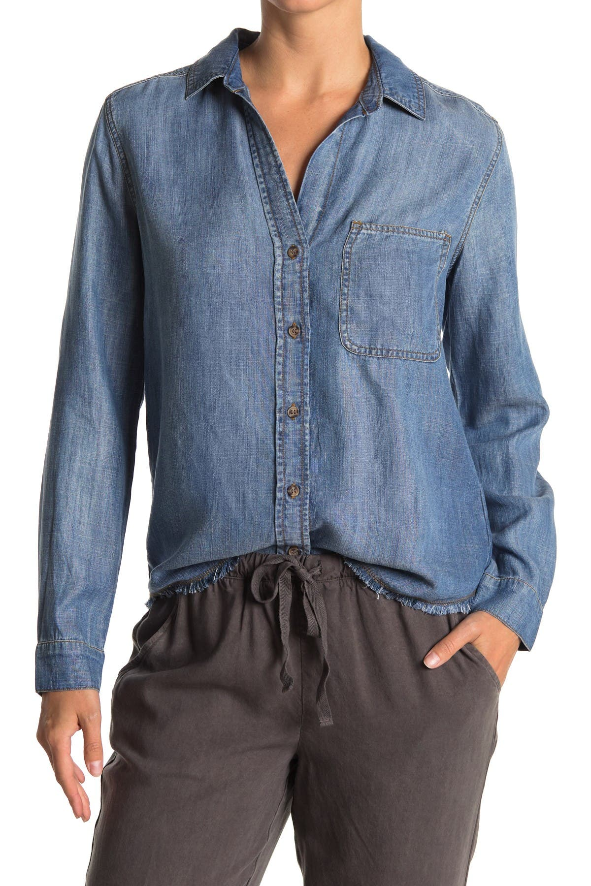 Image of Cloth & Stone Frayed Hem Button Front Shirt