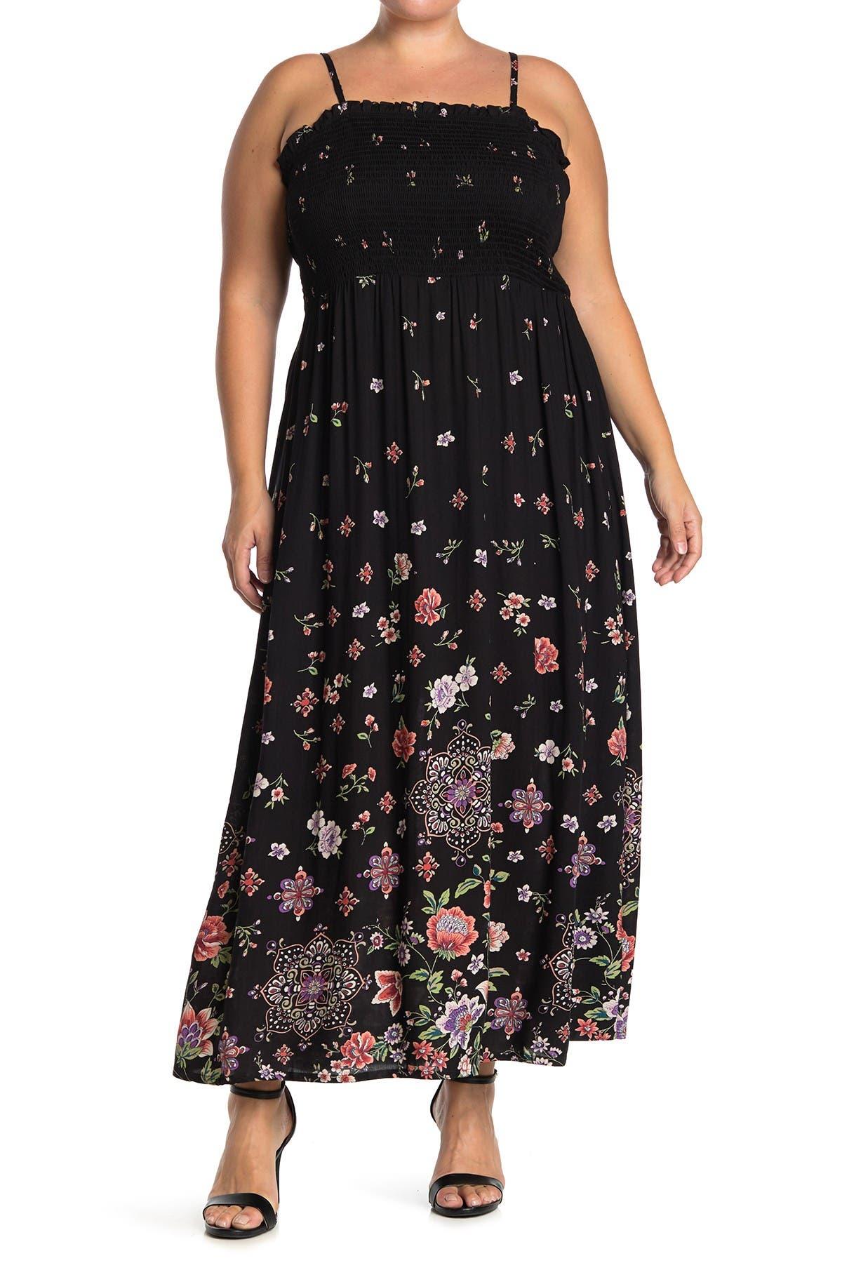 Angie Womens Black Smocked Bodice Cold Shoulder Dress