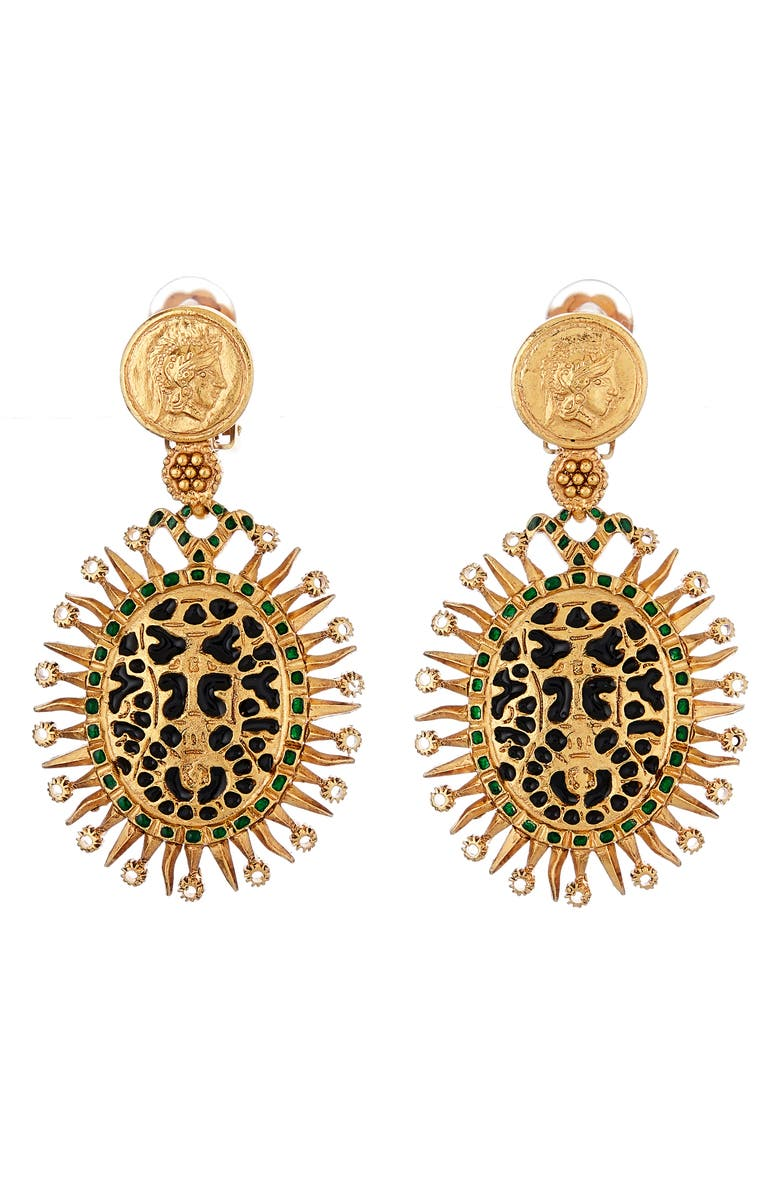 OSCAR DE LA RENTA Medallion Clip-On Drop Earrings, Main, color, BLACK