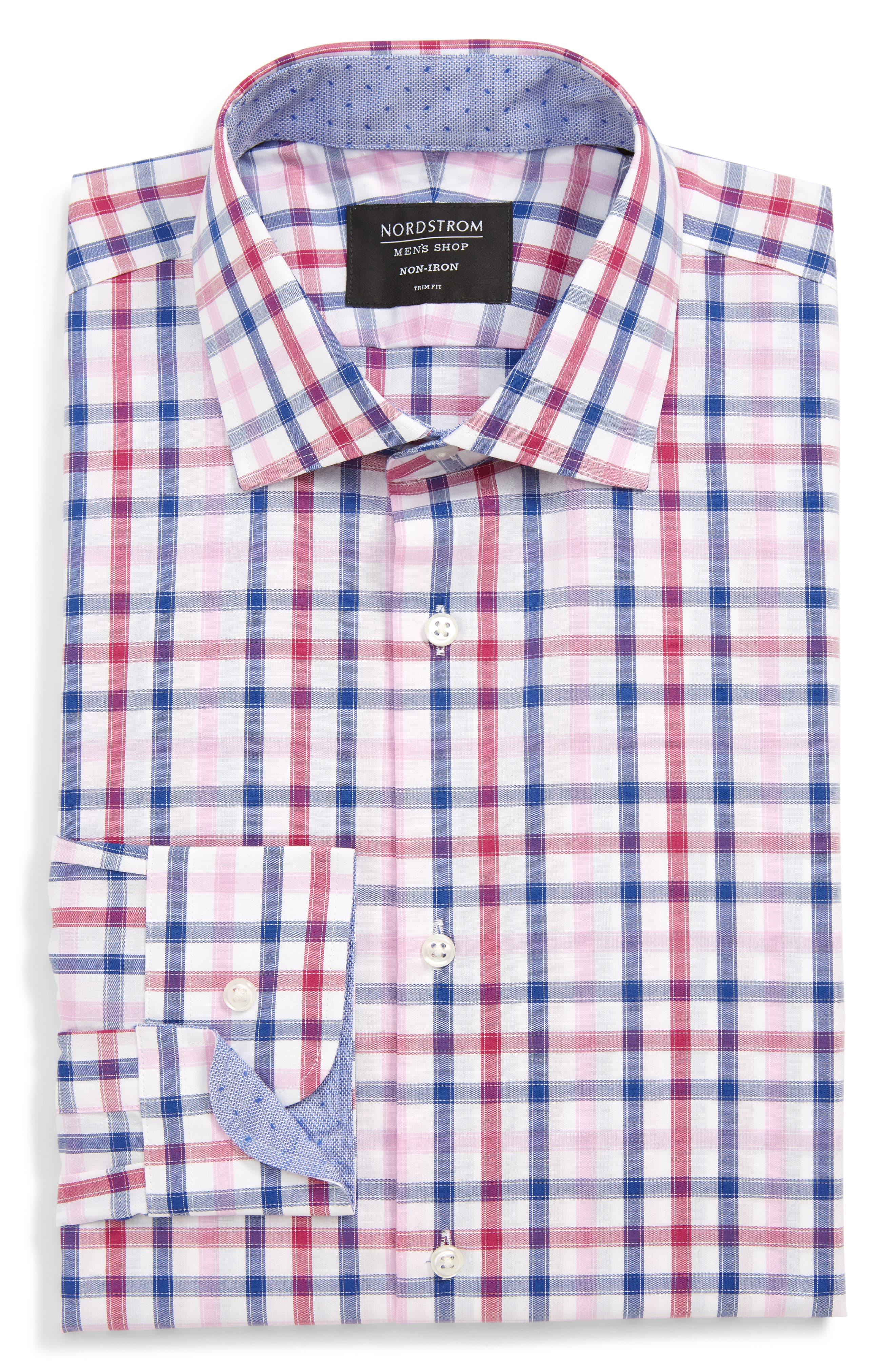,                             Trim Fit Non-Iron Check Dress Shirt,                             Main thumbnail 1, color,                             PINK HAZE