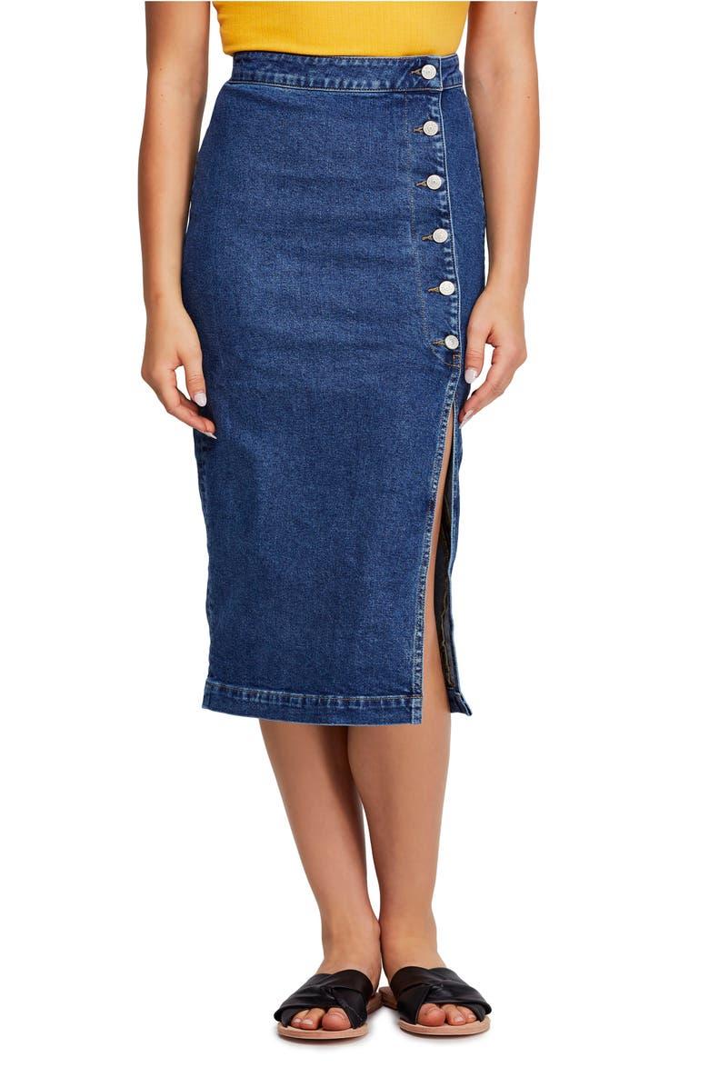FREE PEOPLE Jasmine Button Midi Skirt, Main, color, 425