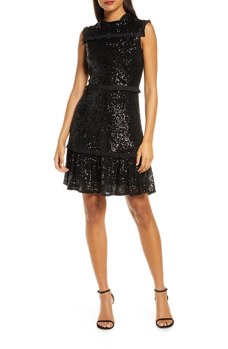 JULIA JORDAN Sequin Tiered A-Line Dress, Main, color, BLACK