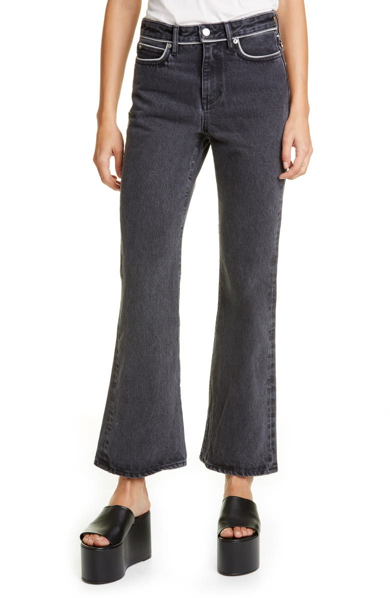 SIMON MILLER Piping Crop Flare Jeans, Main, color, MID BLACK WASH PIPING