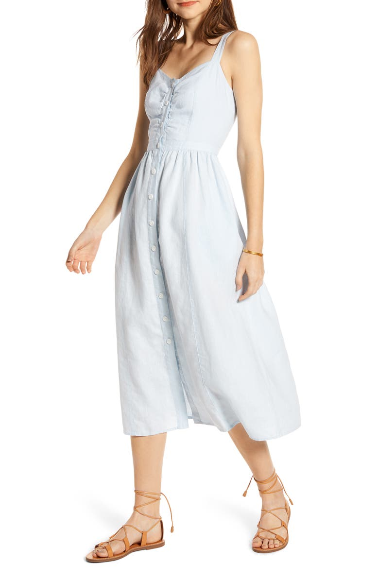 TREASURE & BOND Linen Midi Dress, Main, color, BLUE DRIFT