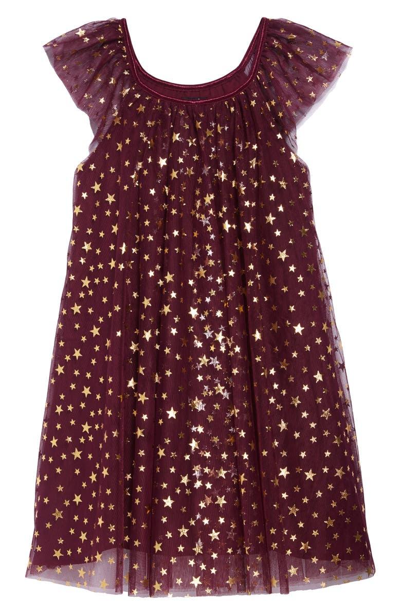 ZUNIE Foil Star Mesh Trapeze Dress, Main, color, EGGPLANT