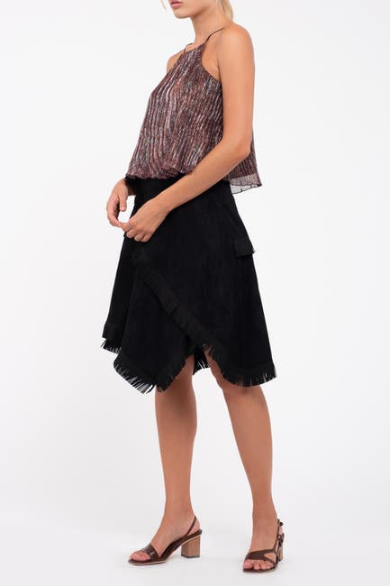 Image of Moon River Faux Suede Asymmetrical Skirt