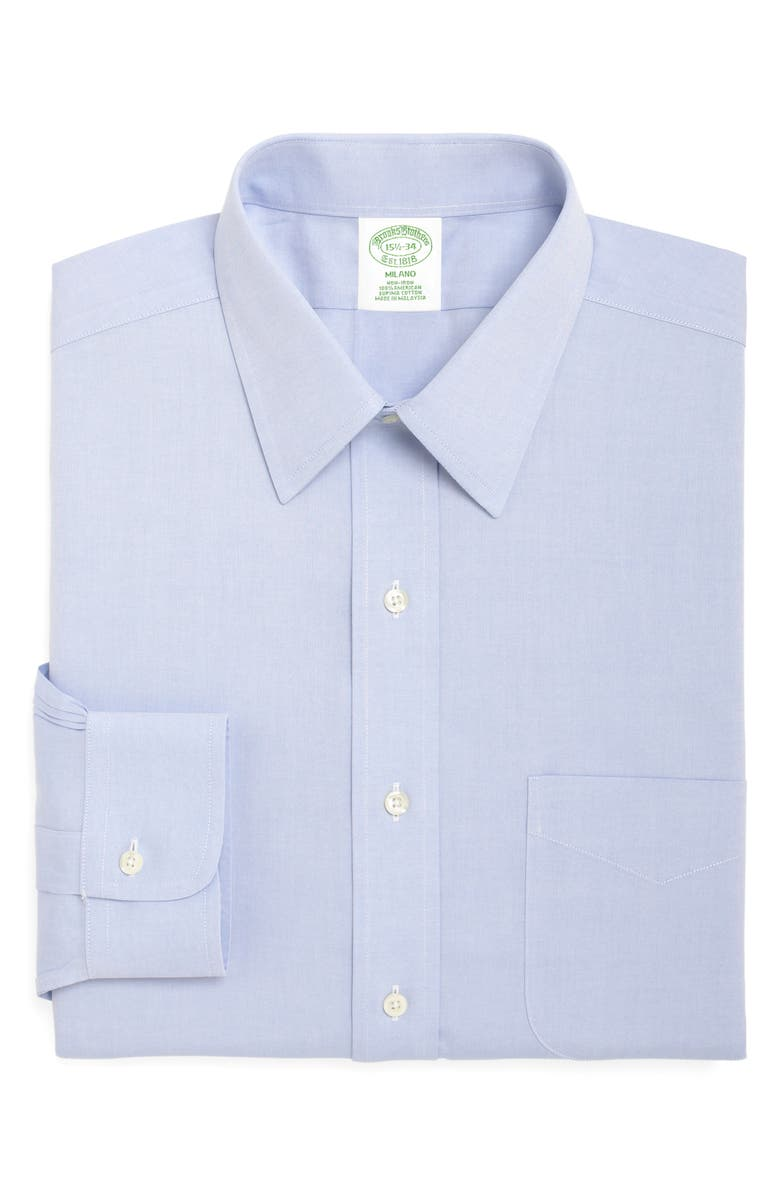 BROOKS BROTHERS Milano Slim Fit Solid Dress Shirt, Main, color, LIGHT/ PASTEL BLUE