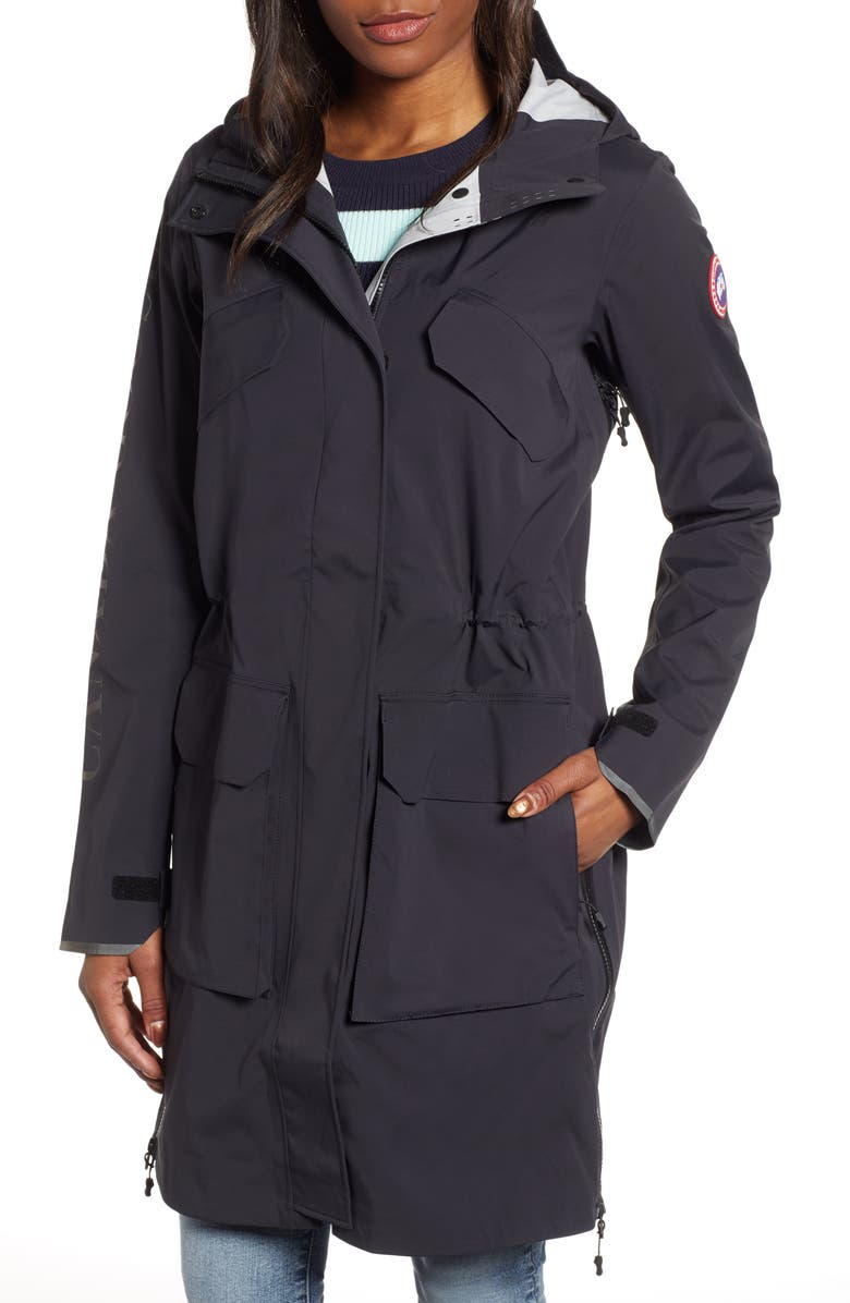 CANADA GOOSE Seaboard Packable Water Repellent Hooded Jacket, Main, color, BLACK