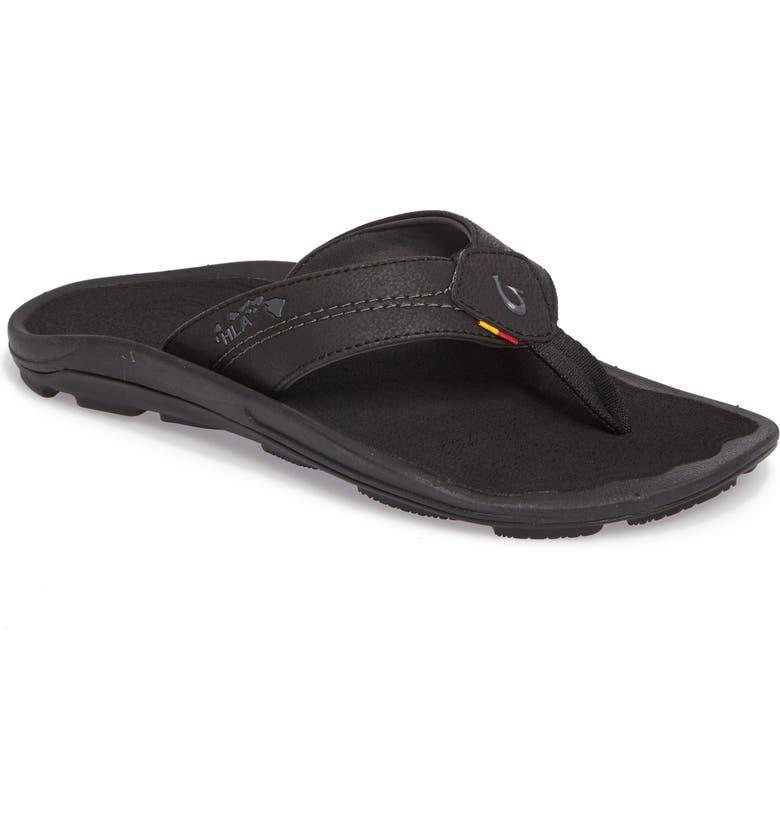 OLUKAI Kipi Flip Flop, Main, color, BLACK/ BLACK