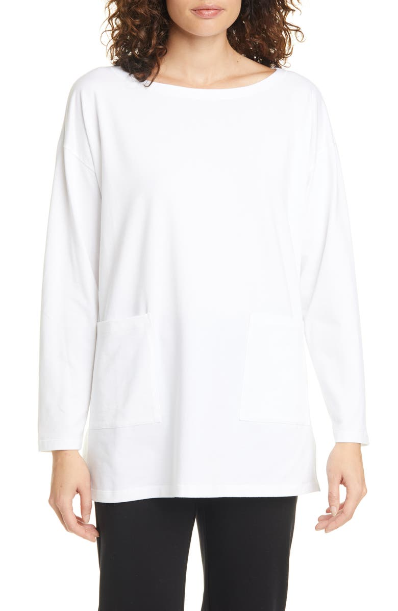 EILEEN FISHER Bateau Neck Pocket Tunic, Main, color, WHITE