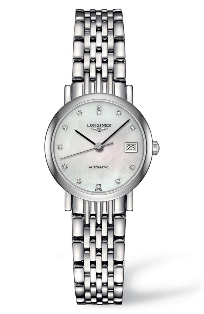 LONGINES Elegant Automatic Diamond Bracelet Watch, 25.5mm, Main, color, SILVER/ MOP/ SILVER