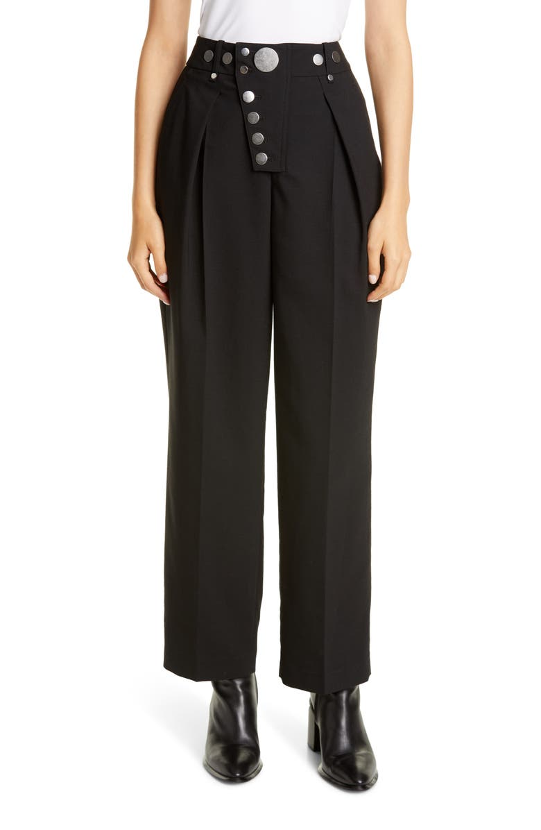 ALEXANDER WANG Button Detail Pleated Wide Leg Trousers, Main, color, 001