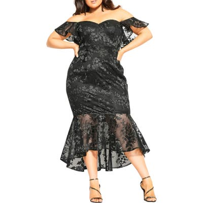 Plus Size City Chic Dress Aflutter Cocktail Dress, Black